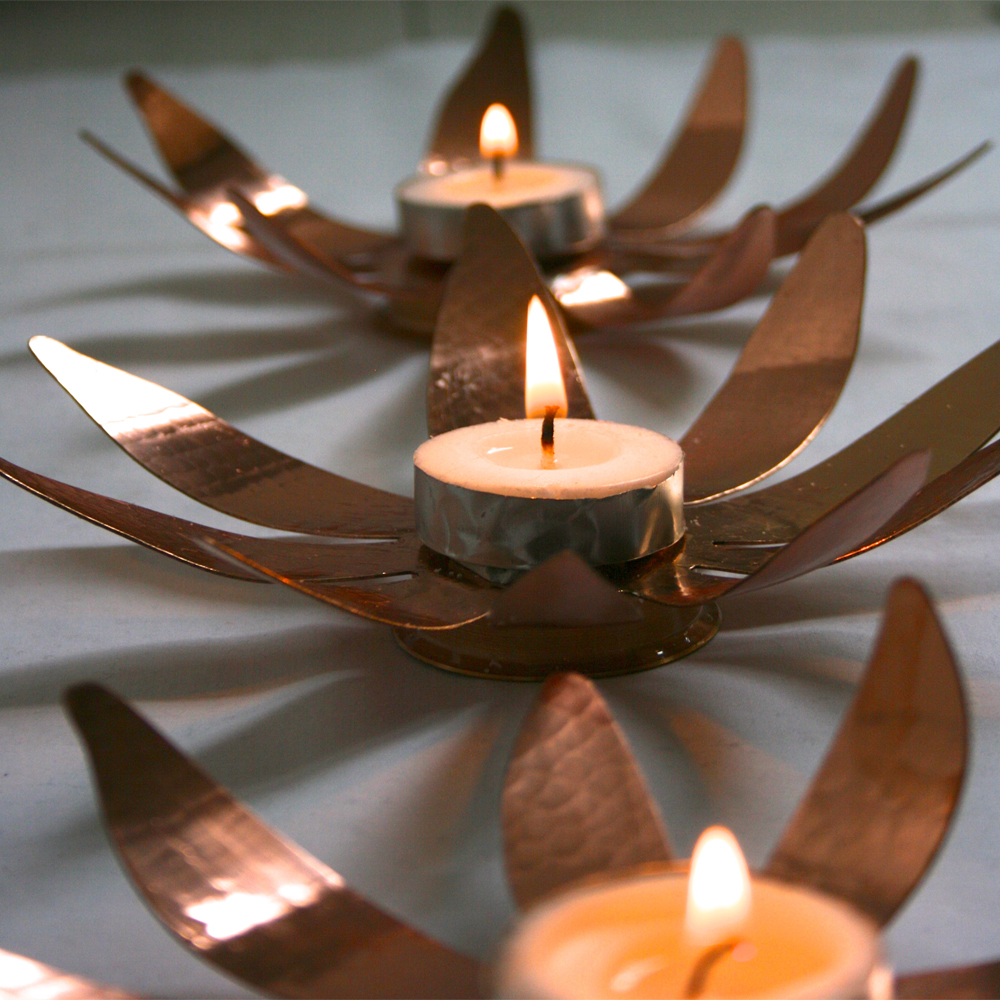 sunflower copper tea lights