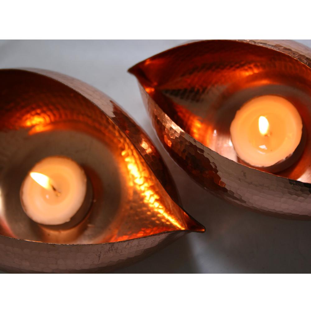 copper tea light holders
