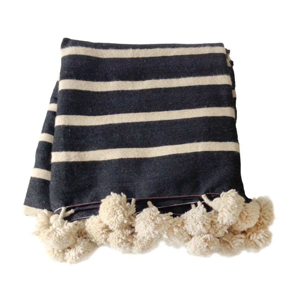 Moroccan Pom Pom Blanket Natural Black Maud Interiors