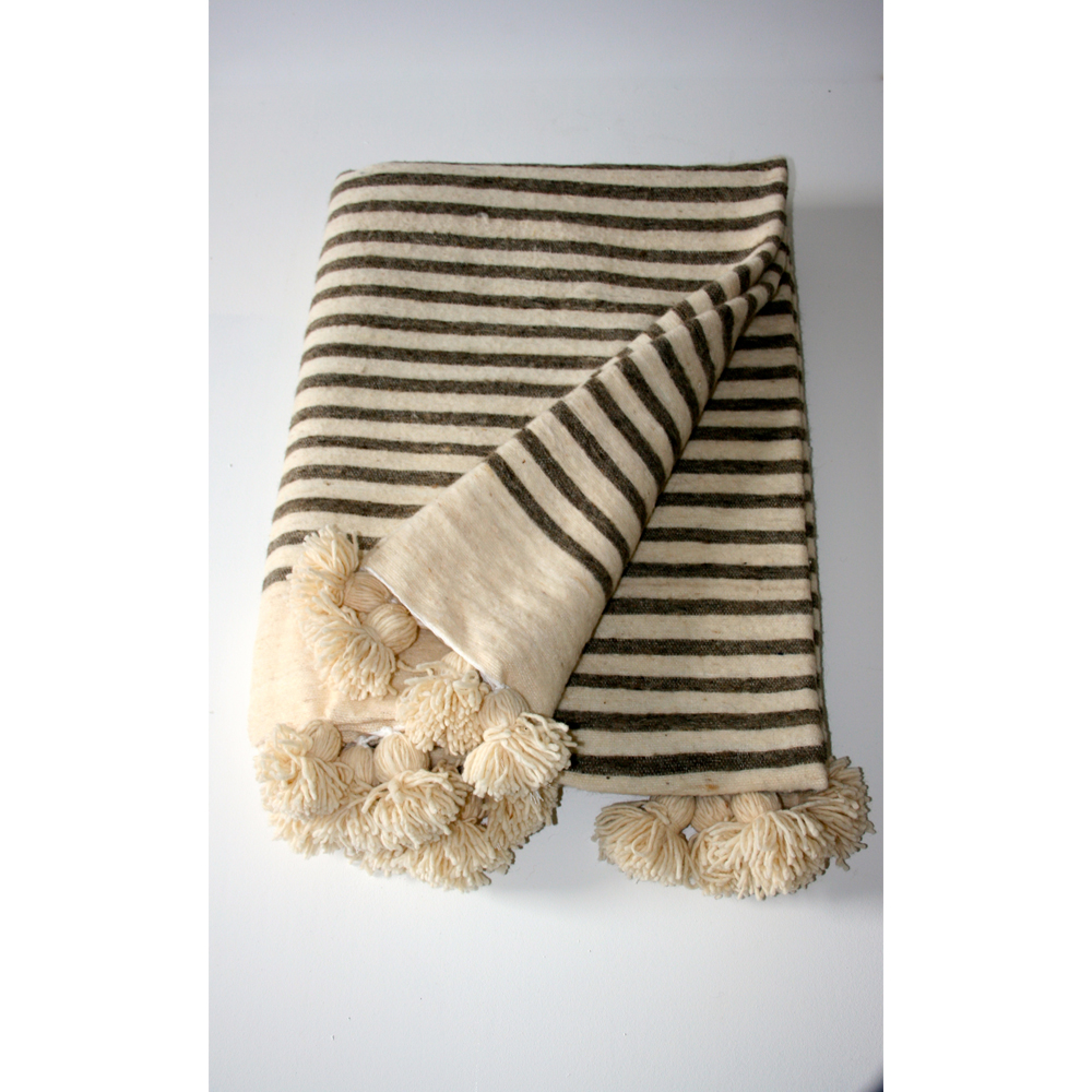 Top Moroccan Pom Pom Blankets Natural Grey Stripes - Maud interiors PE98